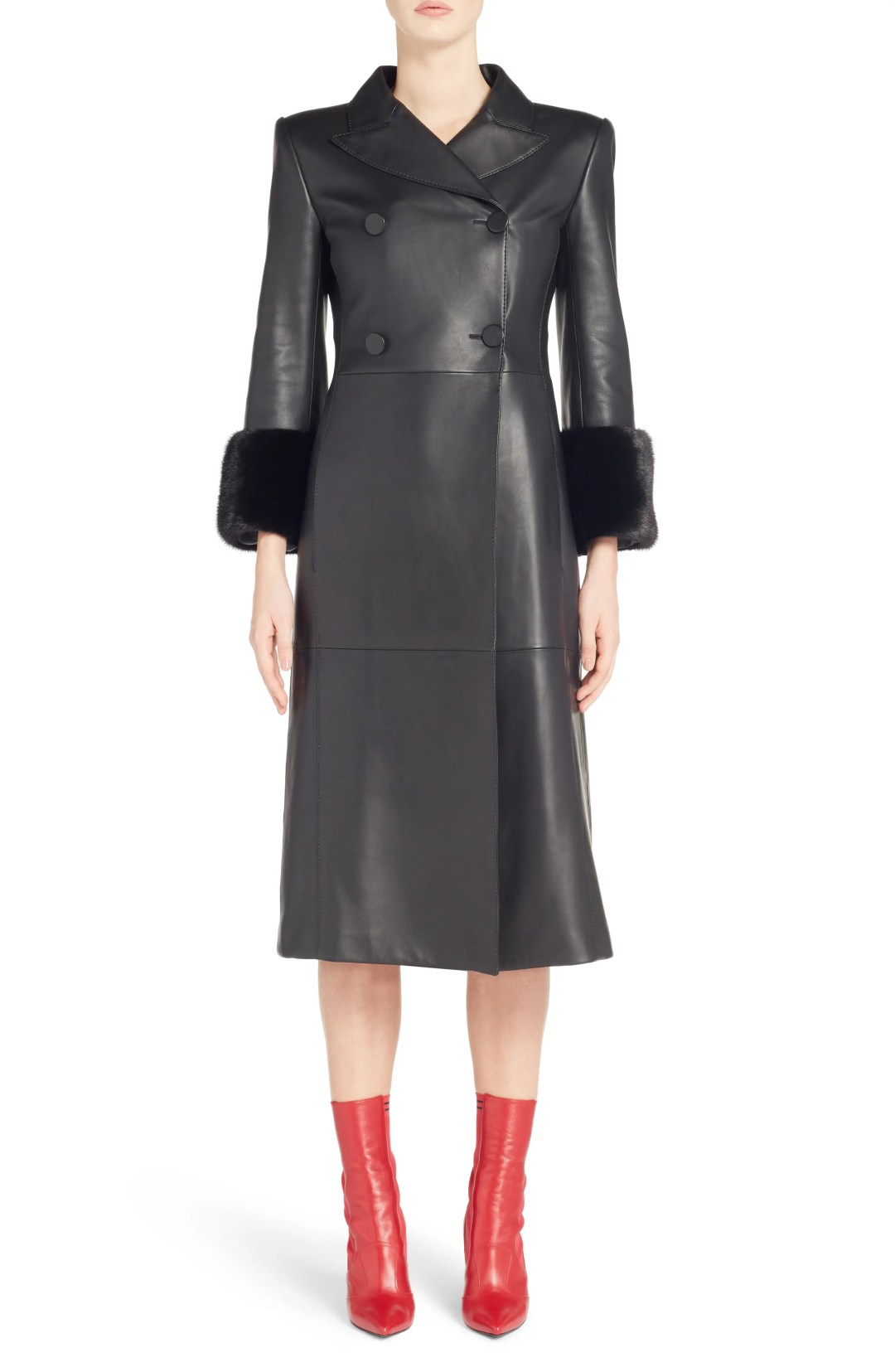 eded84ba1 Women's Fendi Leather Double Breasted Coat With Genuine Mink Fur Trim, Size  4 US / 40 IT – Black – NORDSTROM.com – $6,500.00 ...
