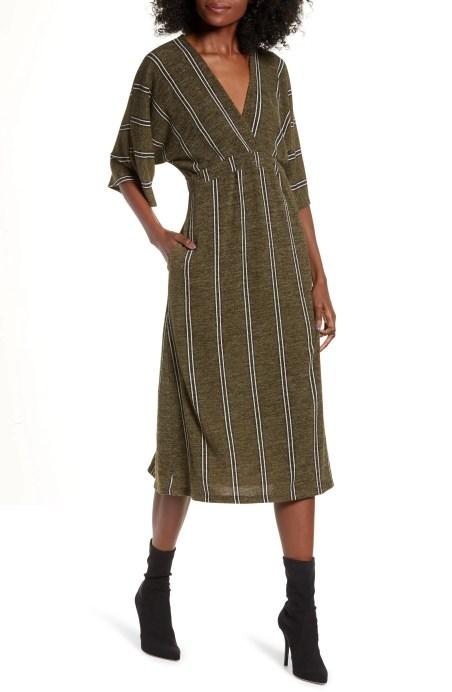 ALL IN FAVOR Surplus Midi Dress, Main, color, GREEN STRIPE
