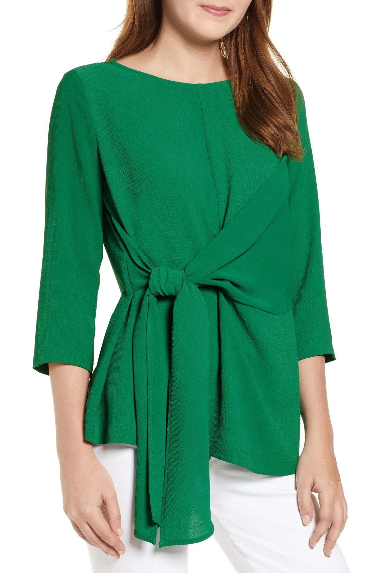 GIBSON x International Women's Day Hoang-Kim Tie Front Crepe Top, Main, color, GREEN AMAZON