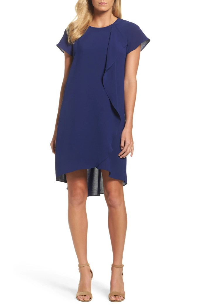Crepe Shift Dress, Main, color, BLUE SAPPHIRE