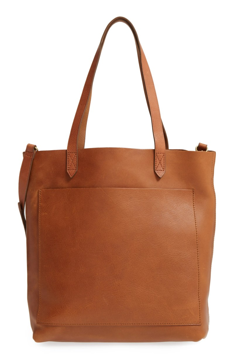 Medium Leather Transport Tote, Main, color, ENGLISH SADDLE