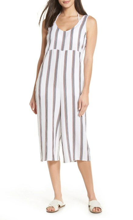 Ramona Cover-Up Jumpsuit, Main, color, WHITE STRIPE