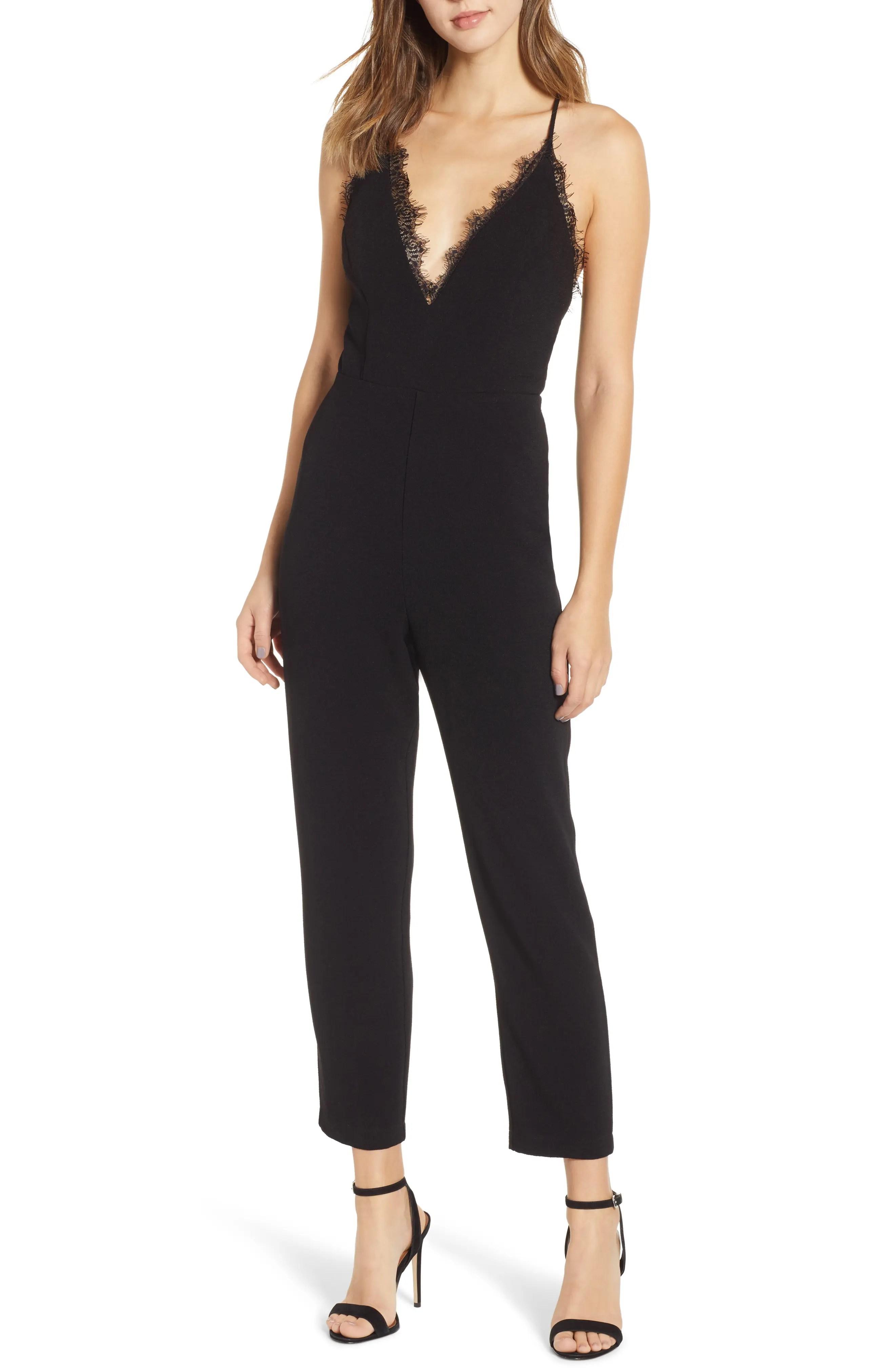 Deep V-Neck Lace Trim Jumpsuit, Main, color, BLACK