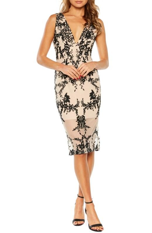 Embroidered Body-Con Dress,                         Main,                         color, BLACK
