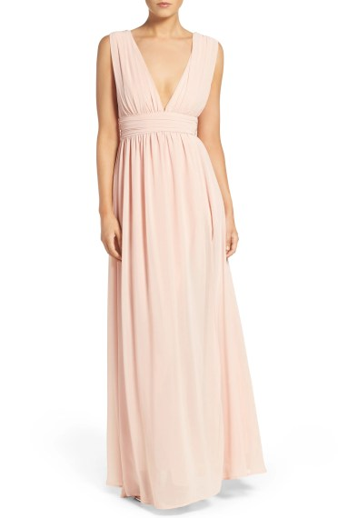 Plunging V-Neck Chiffon Gown,                         Main,                         color, BLUSH