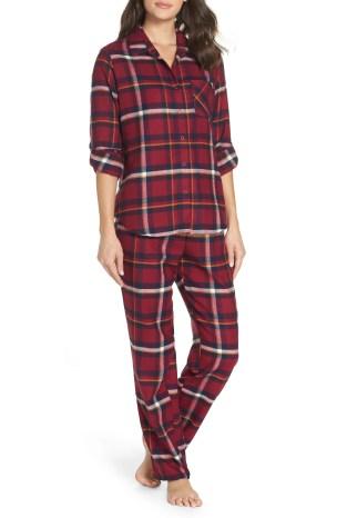 Flannel Girlfriend Pajamas, Main, color, BURGUNDY BERRY ANNIE PLAID