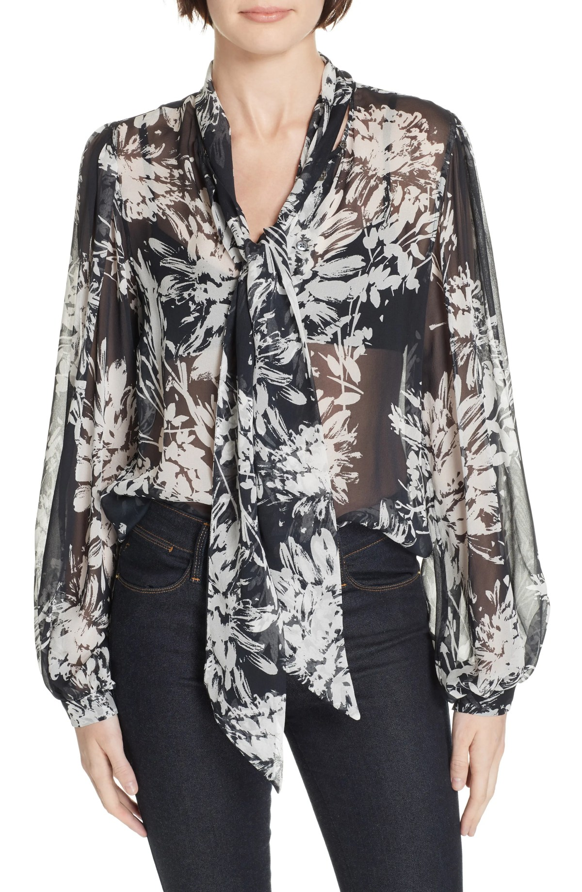 Cleone Tie Neck Sheer Floral Silk Blouse, Main, color, ECLIPSE NATURE WHITE
