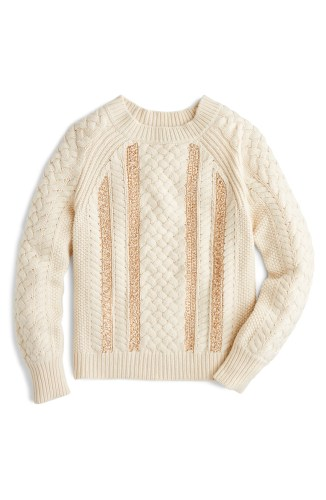 Cable Knit Sequin Sweater, Main, color, NATURAL