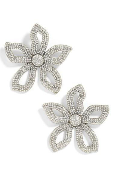 Primina Flower Drop Earrings,                         Main,                         color, CLEAR