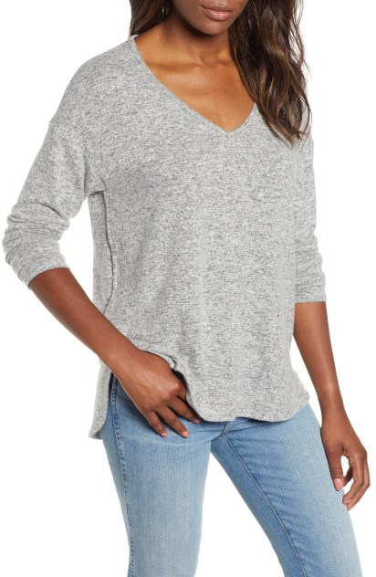Cozy V-Neck Top,                         Main,                         color, HEATHER GREY