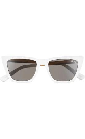 x Desi Perkins Don't @ Me 48mm Cat Eye Sunglasses, Alternate, color, WHITE/ SMOKE