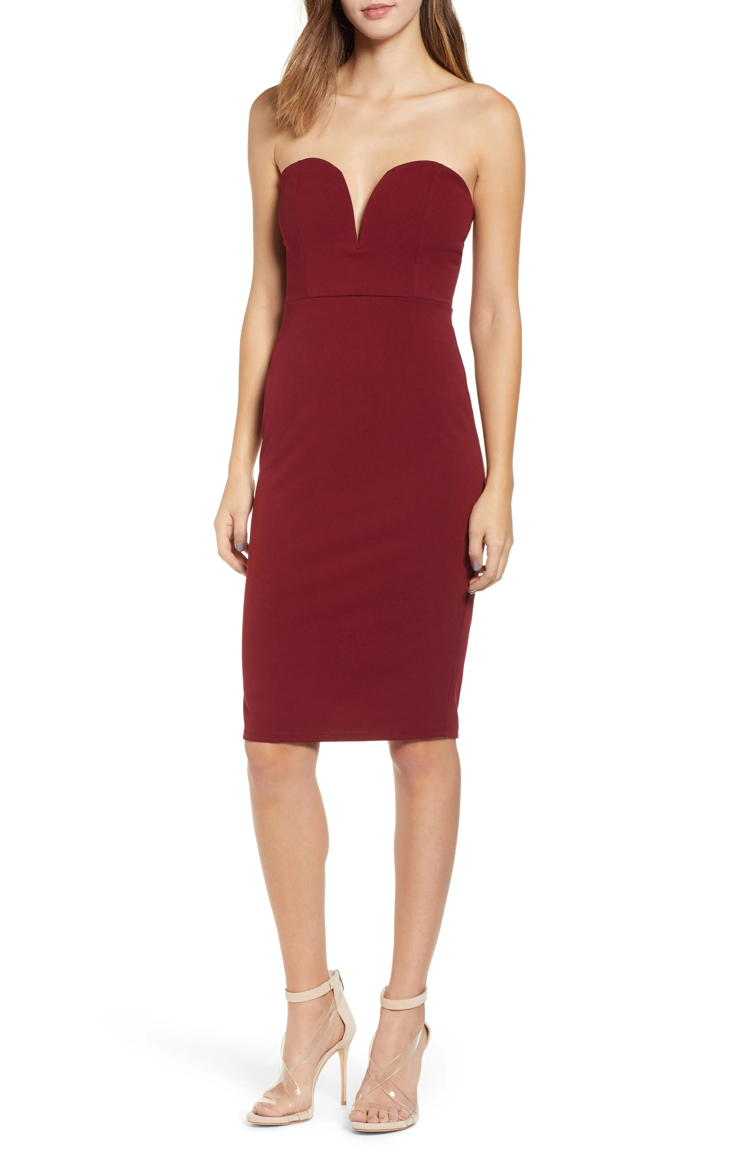 Strapless Sheath Dress, Main, color, RED GRAPE