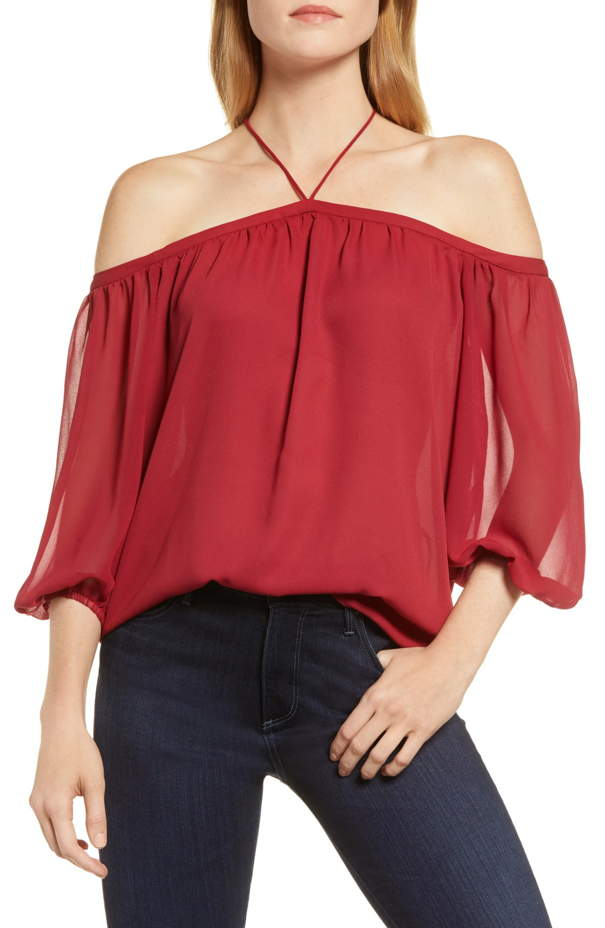 Off the Shoulder Sheer Chiffon Blouse, Main, color, LUSH BERRY