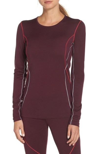 Oasis Long Sleeve Merino Wool Base Layer T-Shirt,                         Main,                         color, VELVET/ PRISM/ DEW