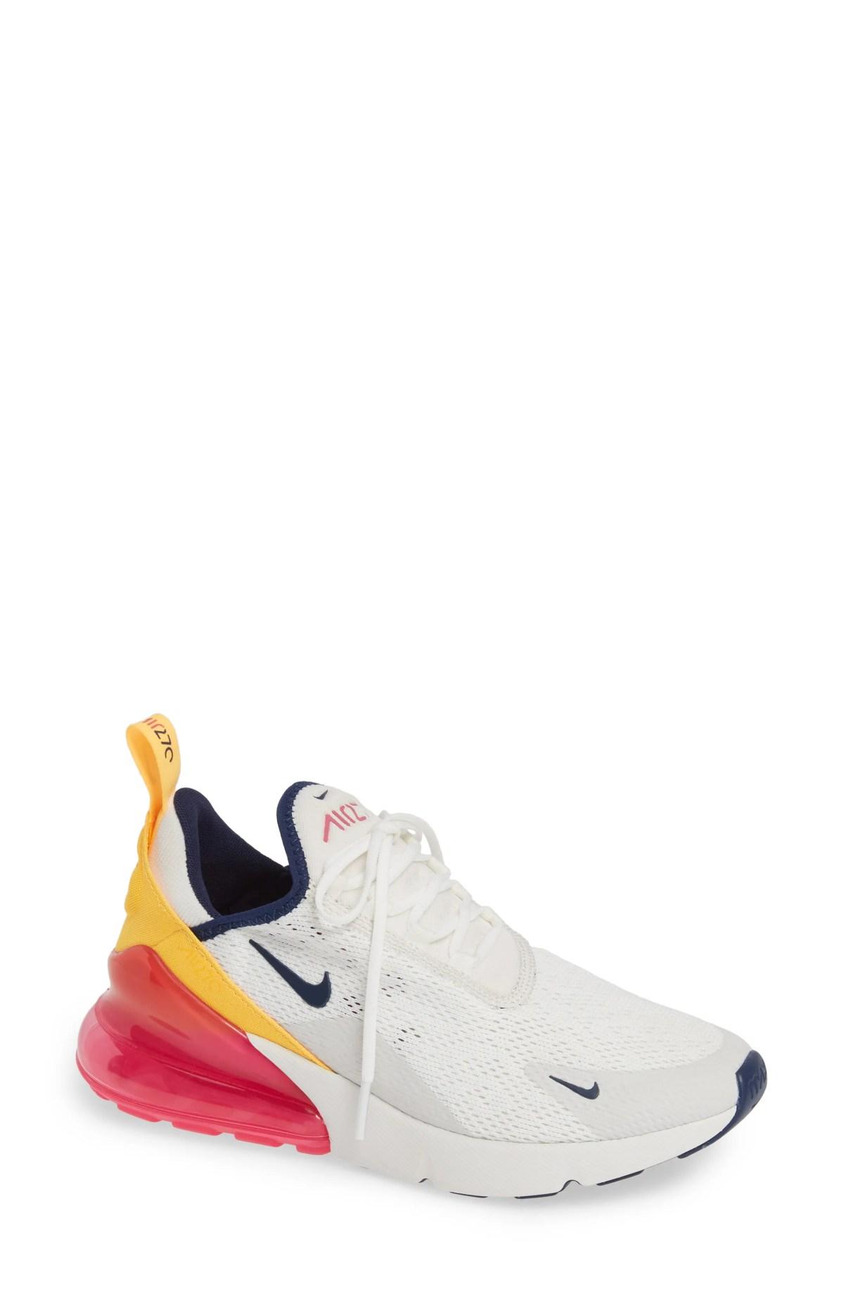 NIKE Air Max 270 Premium Sneaker, Main, color, WHITE/ NAVY/ LASER FUCHSIA