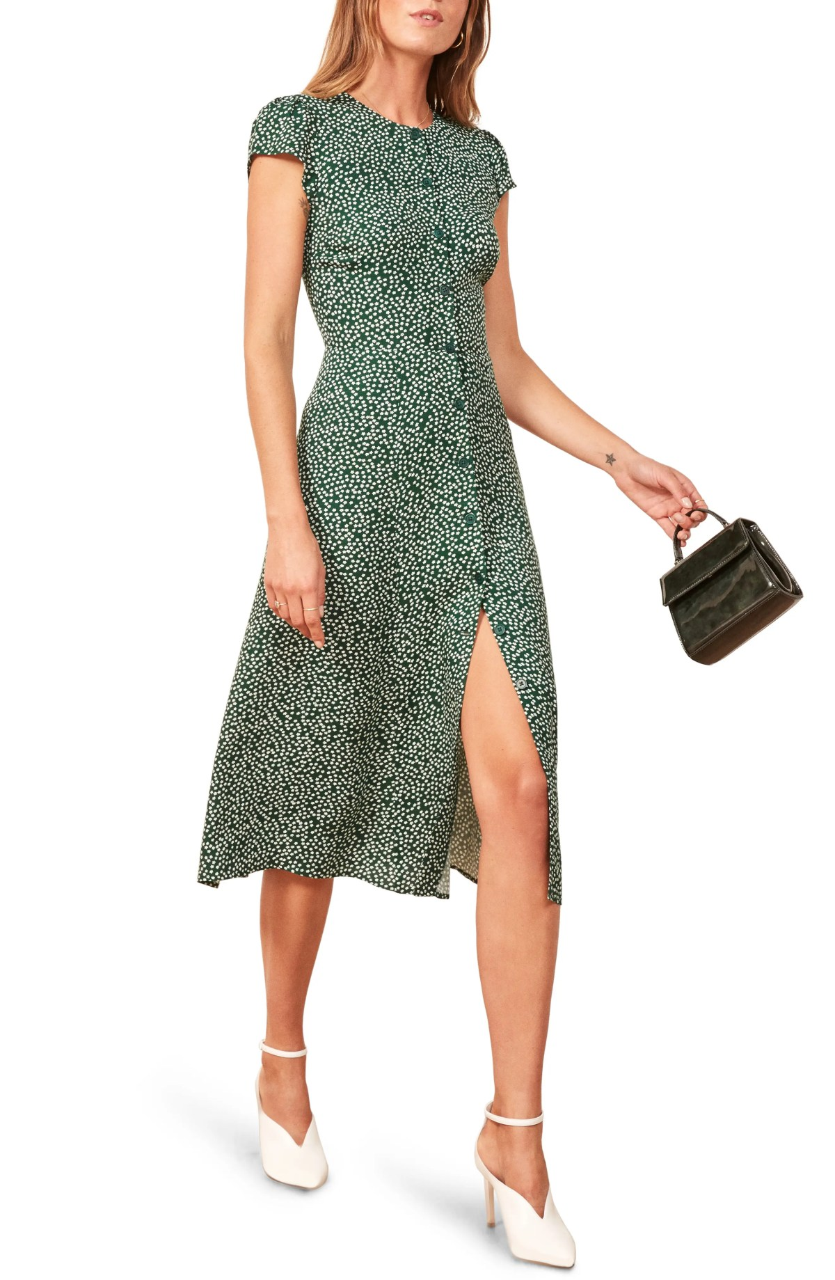 REFORMATION Fauna Front Button Midi Dress, Main, color, WYOMING
