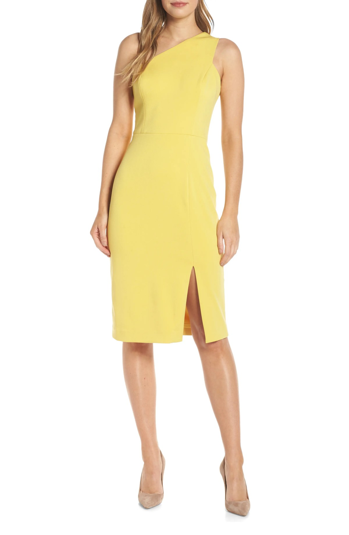 One-Shoulder Sheath Dress, Main, color, YELLOW