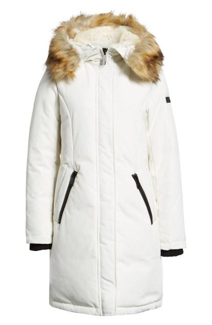 Faux Fur Trim Down Jacket,                         Alternate,                         color, WHITE