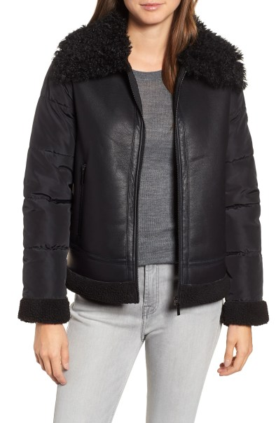 Faux Shearling Hybrid Jacket, Main, color, BLACK