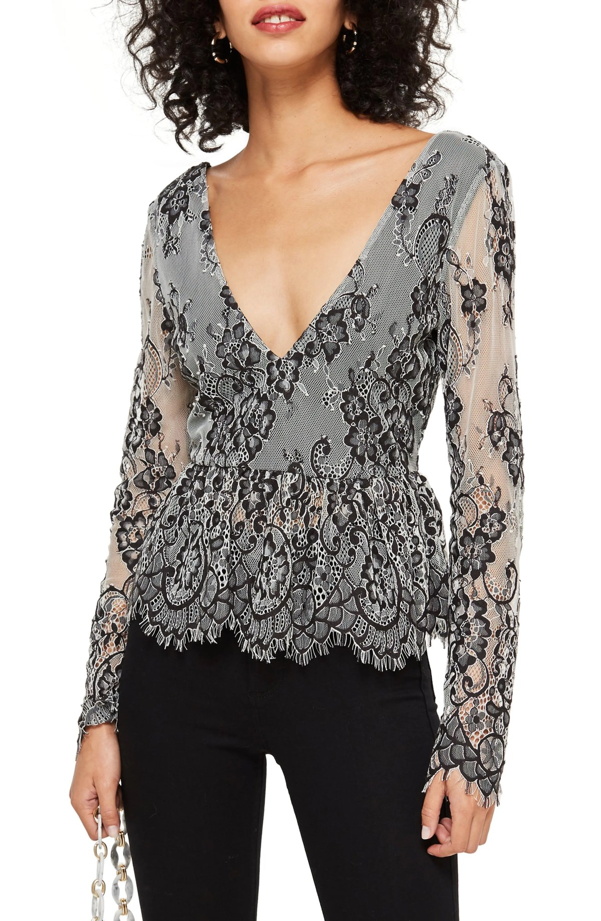 Tie Back Lace Peplum Top, Main, color, 001
