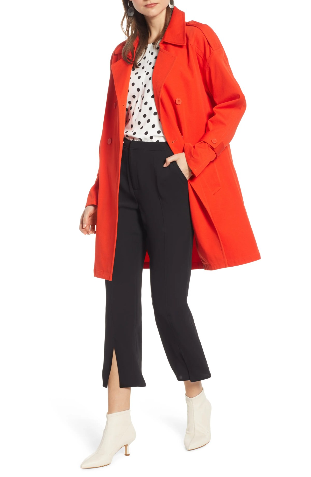 SOMETHING NAVY Easy Oversize Trench, Main, color, RED POINCIANA