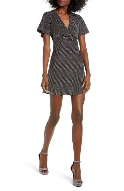 Sparkle Stripe Twist Front Minidress,                         Main,                         color, BLACK/ SILVER