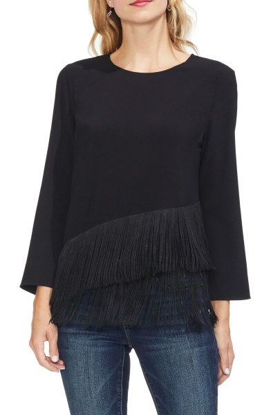 Tiered Fringe Top,                         Main,                         color, RICH BLACK