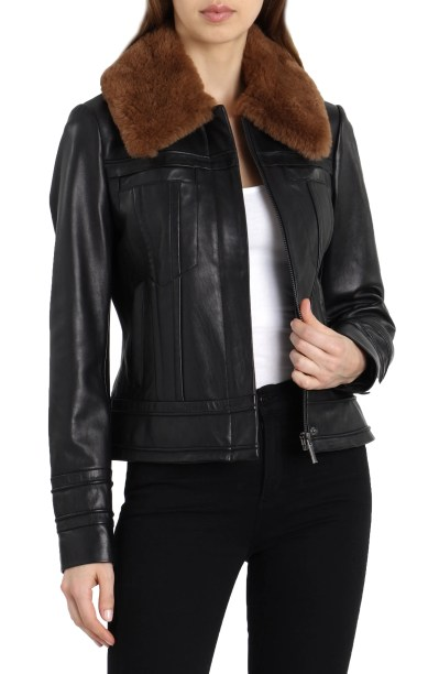 Badgley Mischka Leather Aviator Jacket with Genuine Shearling, Main, color, BLACK
