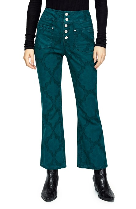 Liv Crop Flare Jeans,                         Main,                         color, TURQUOISE