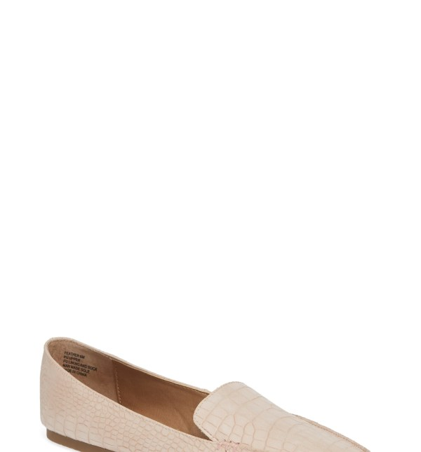 STEVE MADDEN Feather Loafer Flat, Main, color, PINK CROCODILE PRINT