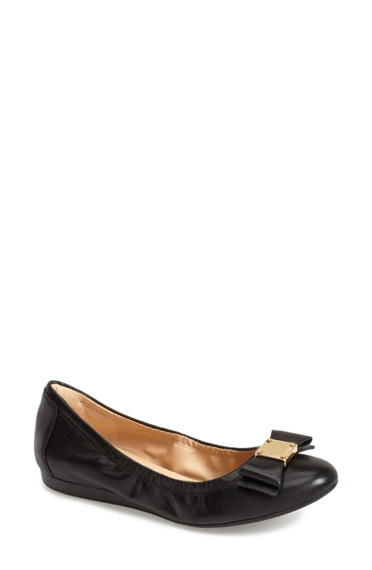 COLE HAAN 'Tali' Bow Ballet Flat, Main, color, BLACK