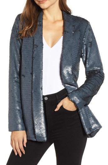 Shawl Collar Sequin Jacket,                         Main,                         color, CHARCOAL