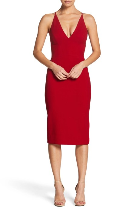 Lyla Crepe Sheath Dress,                         Main,                         color, GARNET