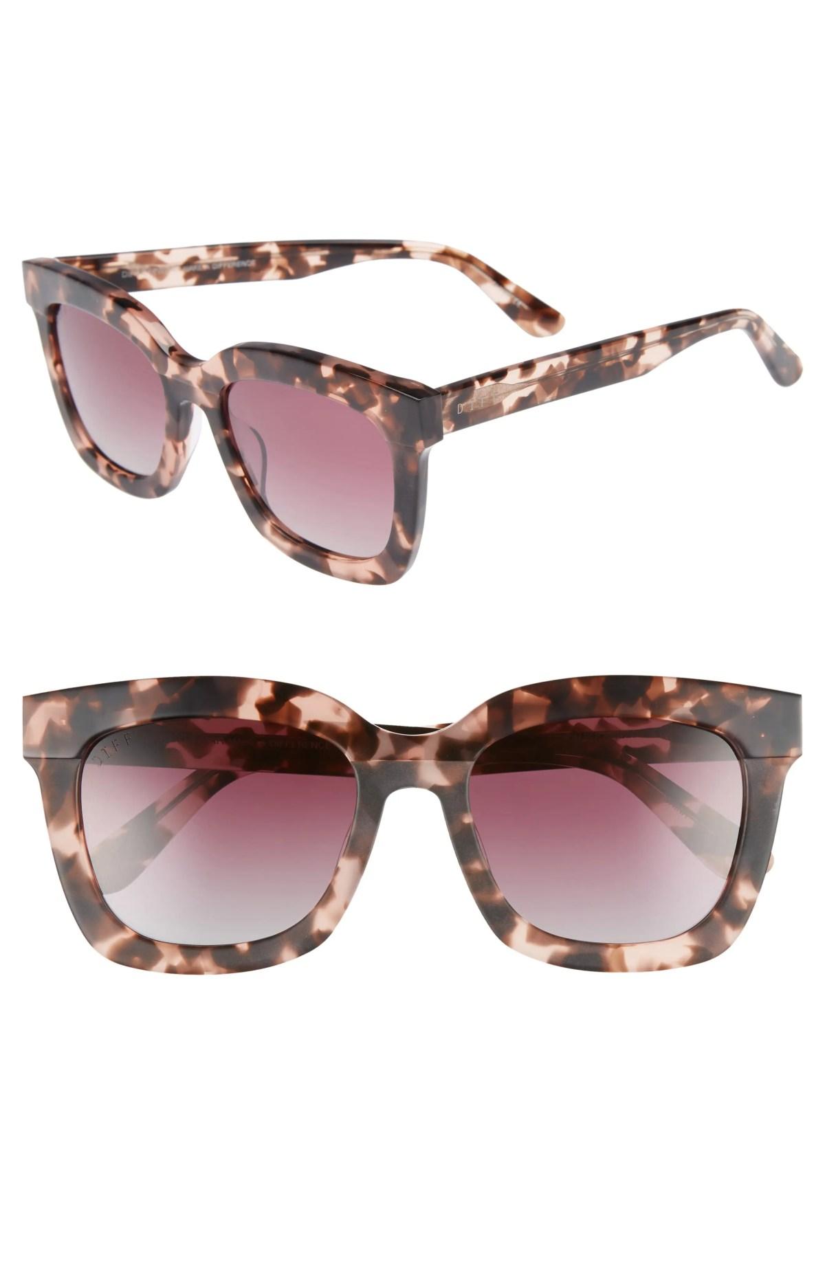 DIFF Carson 53mm Polarized Square Sunglasses, Main, color, HIMALAYAN TORTOISE/ ROSE