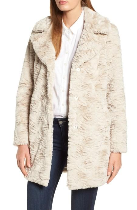 Textured Faux Fur Coat,                         Main,                         color, SAND