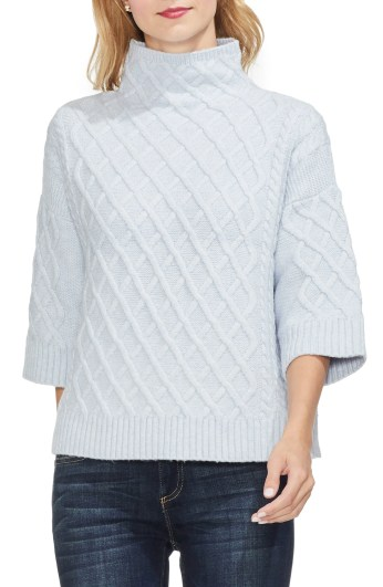Cable Stitch Funnel Neck Sweater, Main, color, NORTHERN LIGHTS
