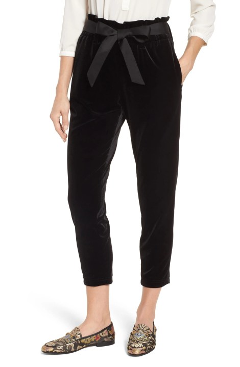 Tie Waist Velvet Pants,                         Main,                         color, BLACK