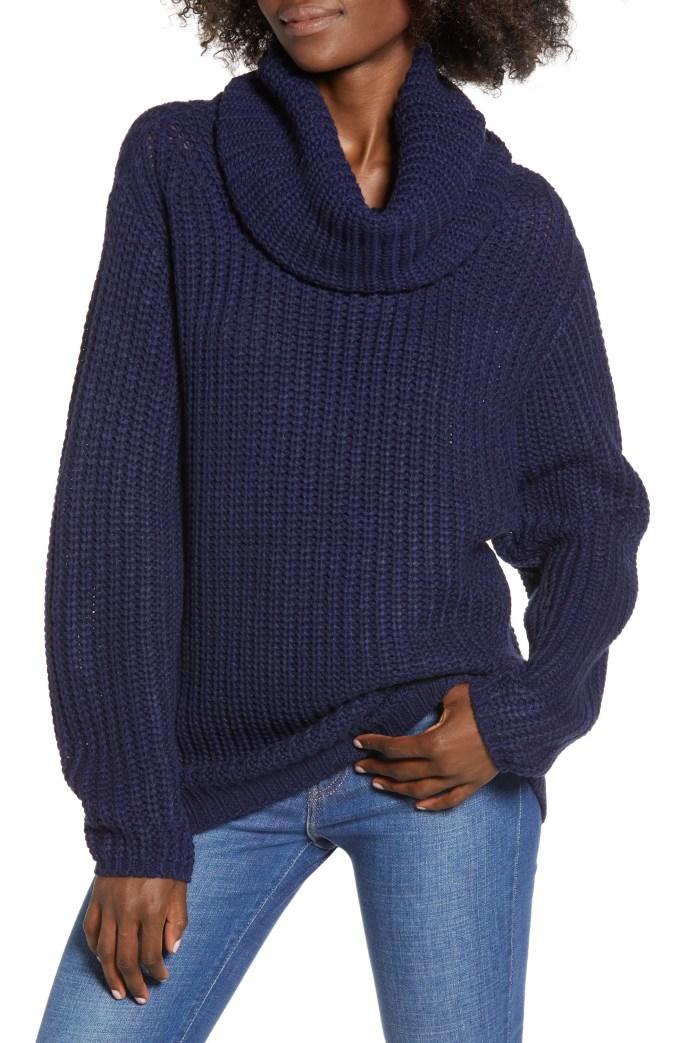 Oversize Turtleneck Sweater, Main, color, NAVY MARITIME