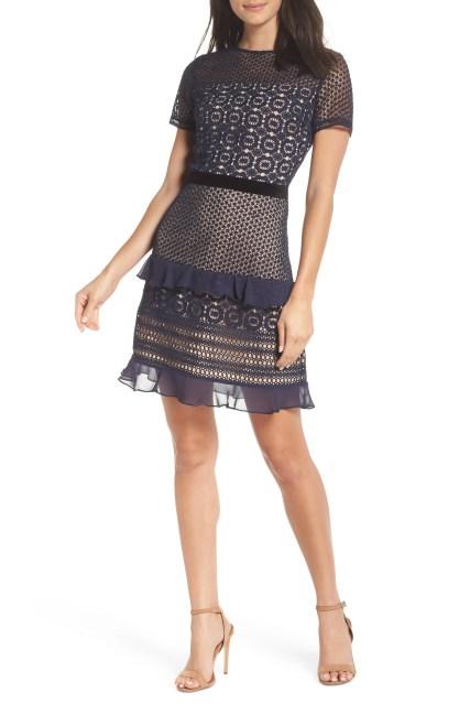 Velveteen Belt Lace Sheath Dress, Main, color, NAVY SAPPHIRE