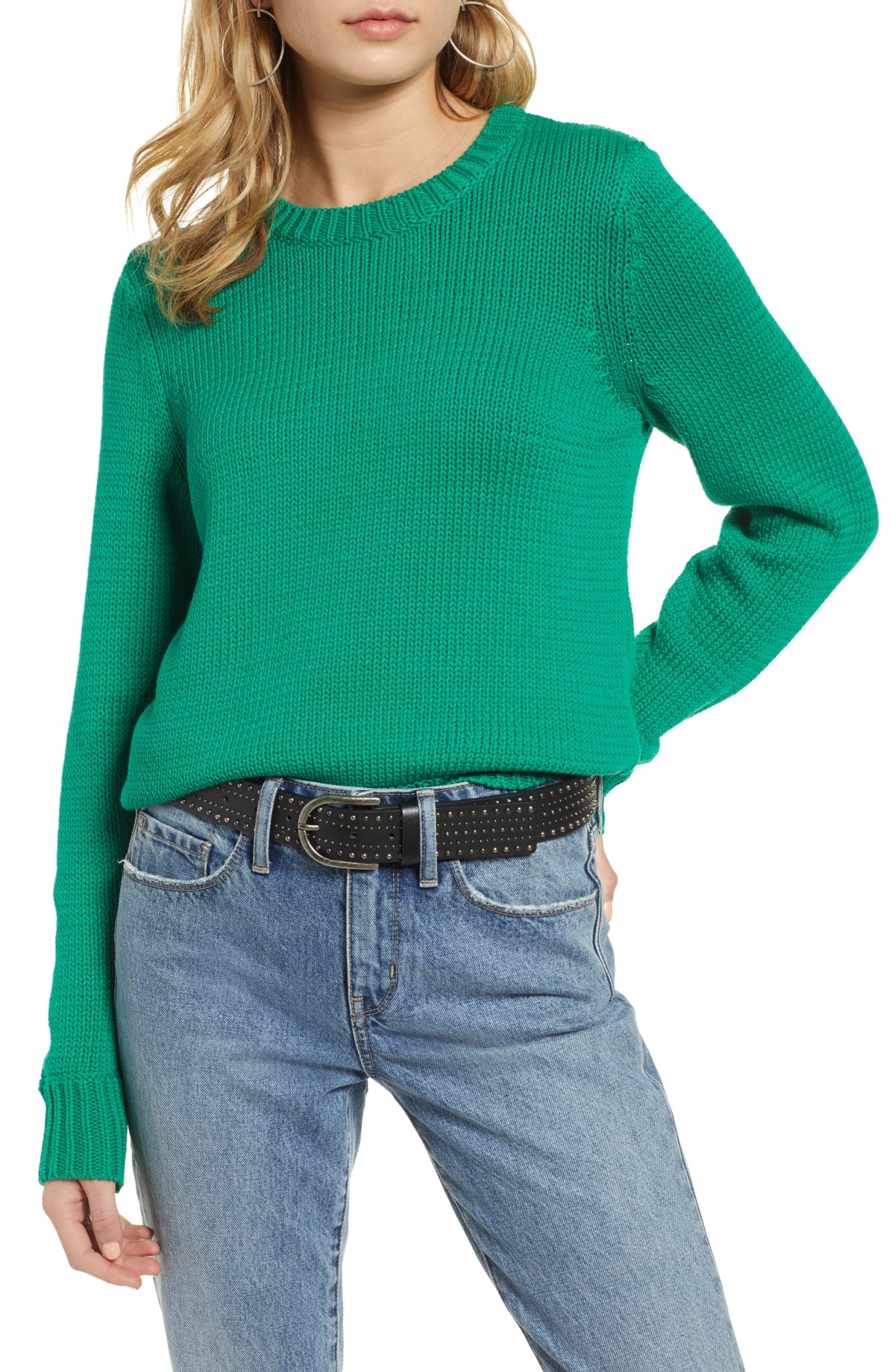 Crewneck Sweater, Main, color, GREEN LAKE