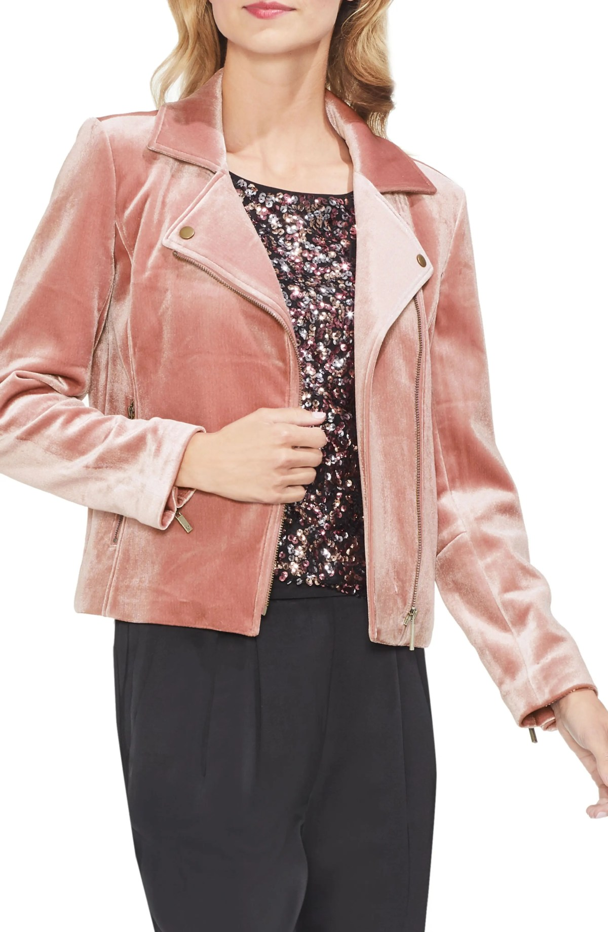 Velvet Scuba Moto Jacket,                         Main,                         color, PROSECCO