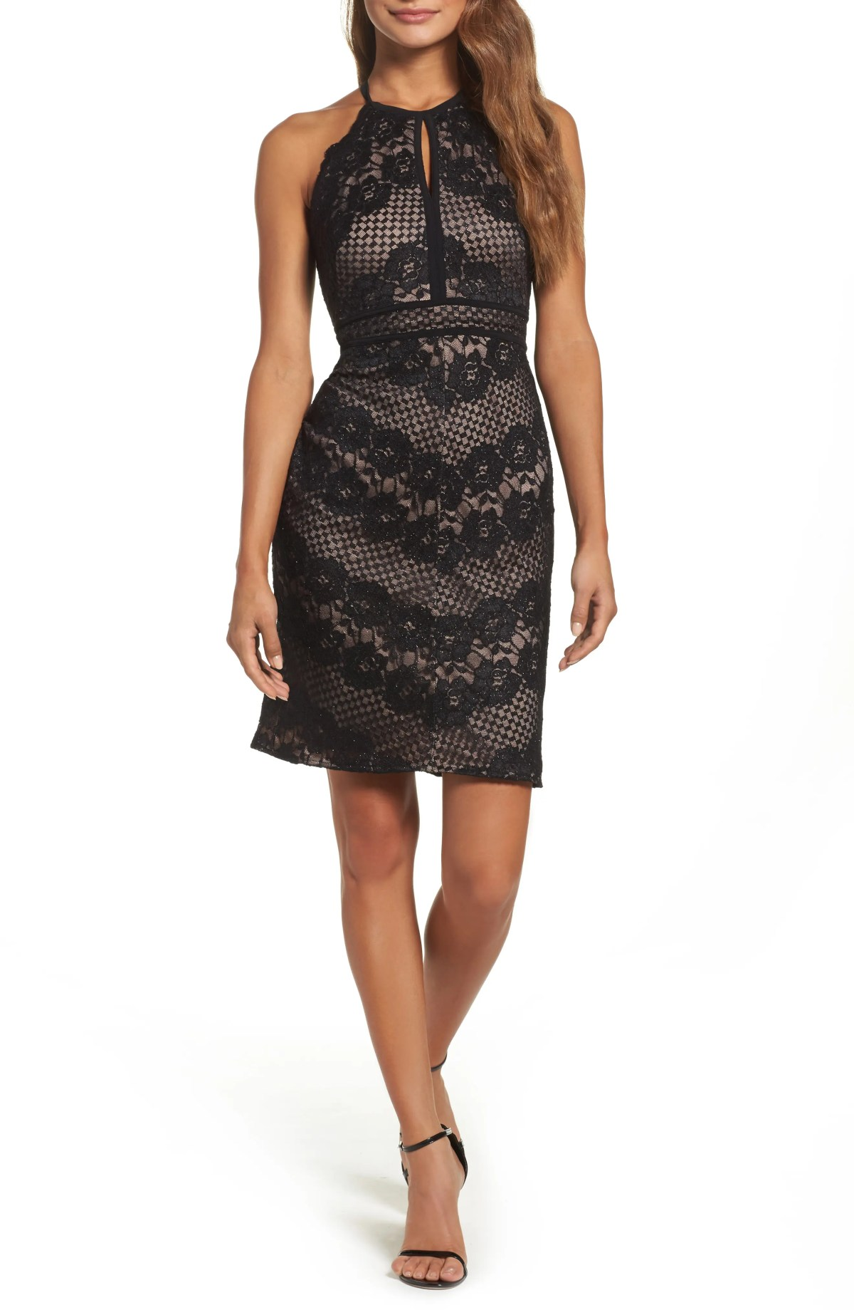 MORGAN & CO. Mitered Lace Dress, Main, color, BLACK/ NUDE