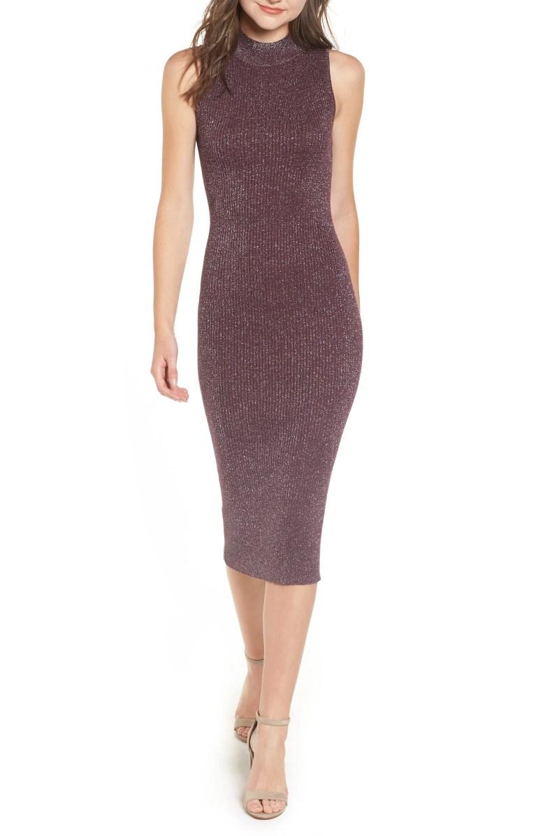 Metallic Ribbed Body-Con Dress, Main, color, BURGUNDY SPANGLE METALLIC