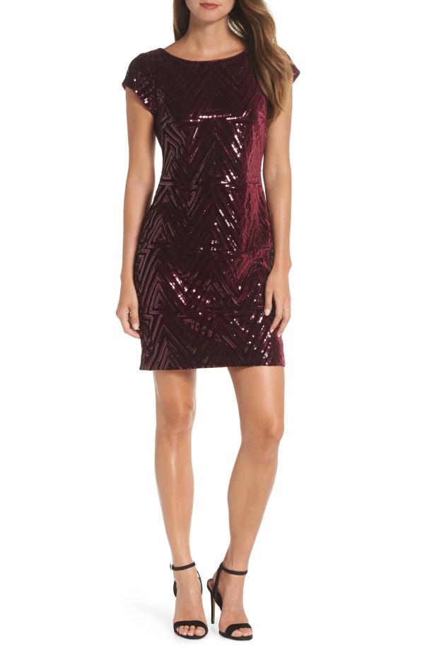 Sequin Sheath Dress,                        Main,                         color, MAROON