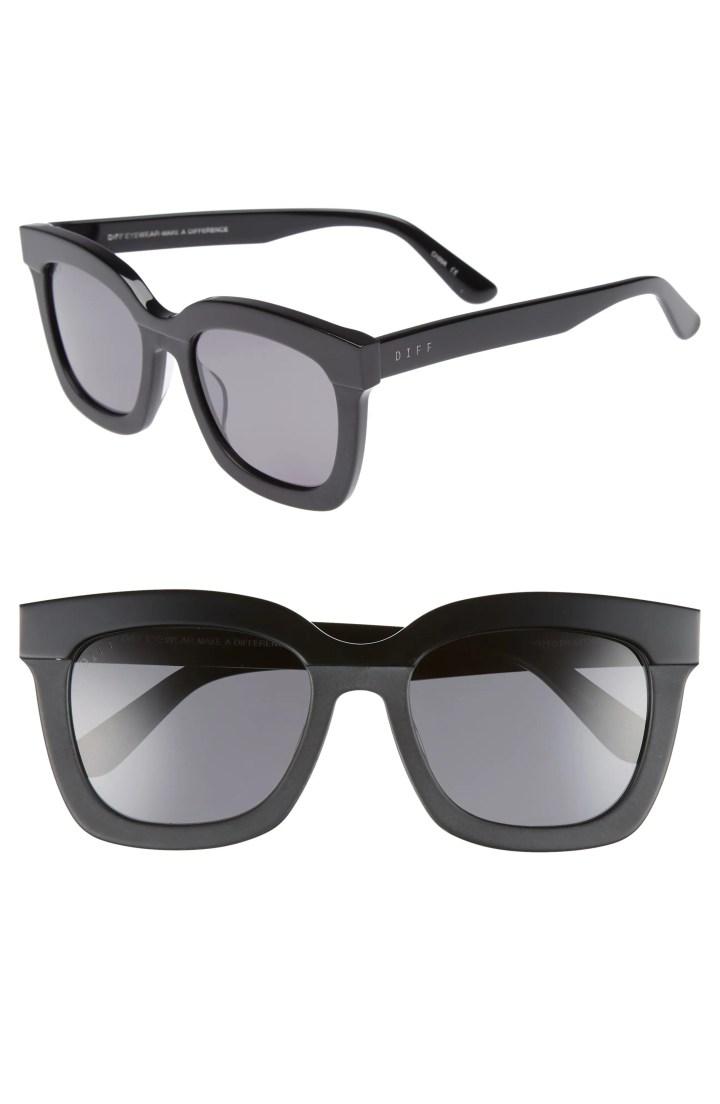 Carson 53mm Polarized Square Sunglasses, Main, color, BLACK/ GREY