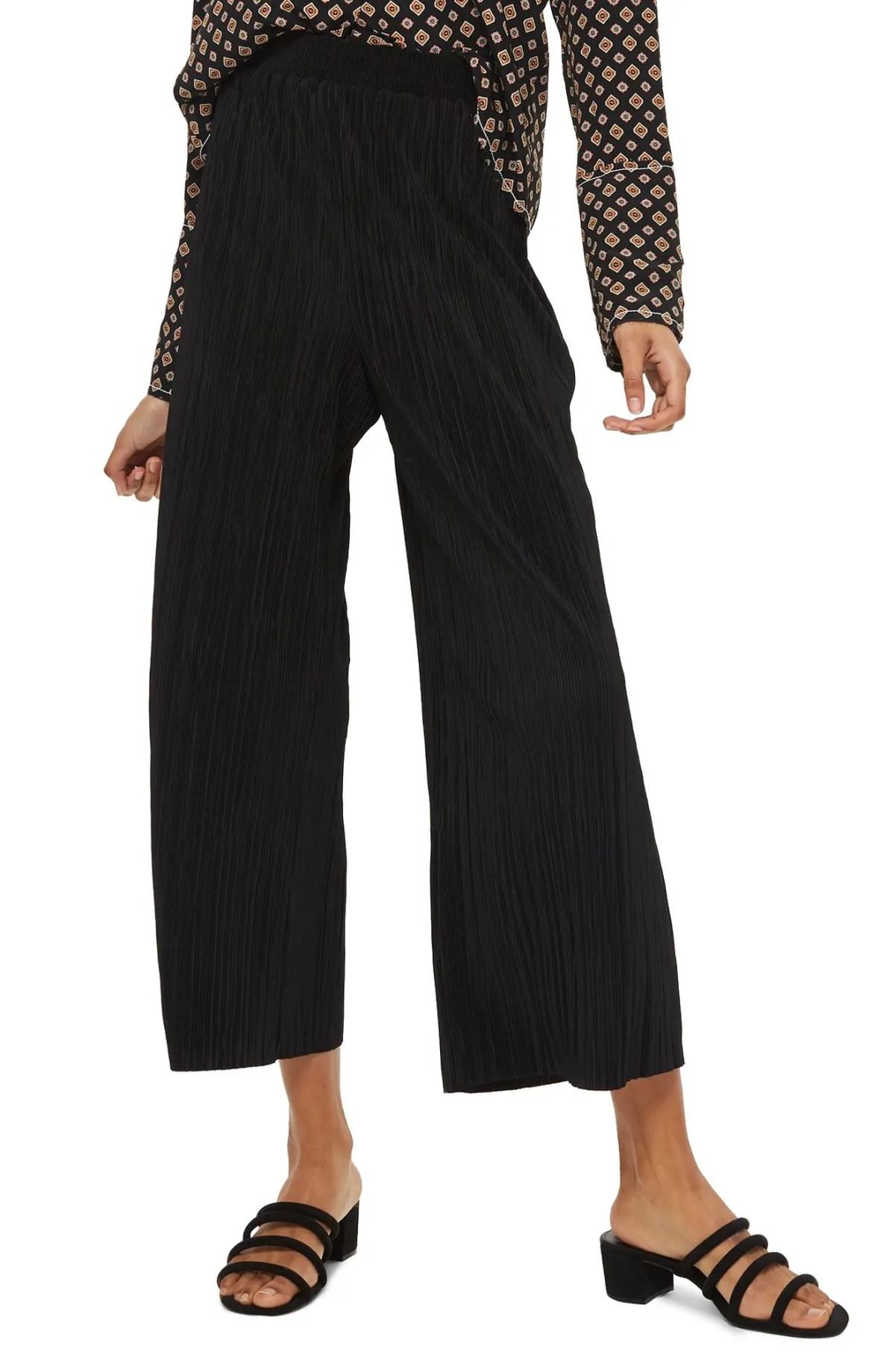 TOPSHOP Track Band Plissé Wide Leg Trousers, Main, color, BLACK