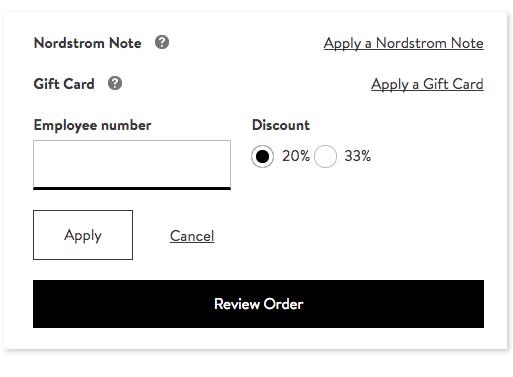 employee discount nordstrom