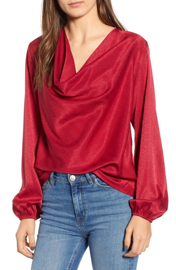 Lotti Cowl Neck Top, Main, color, CHERRY