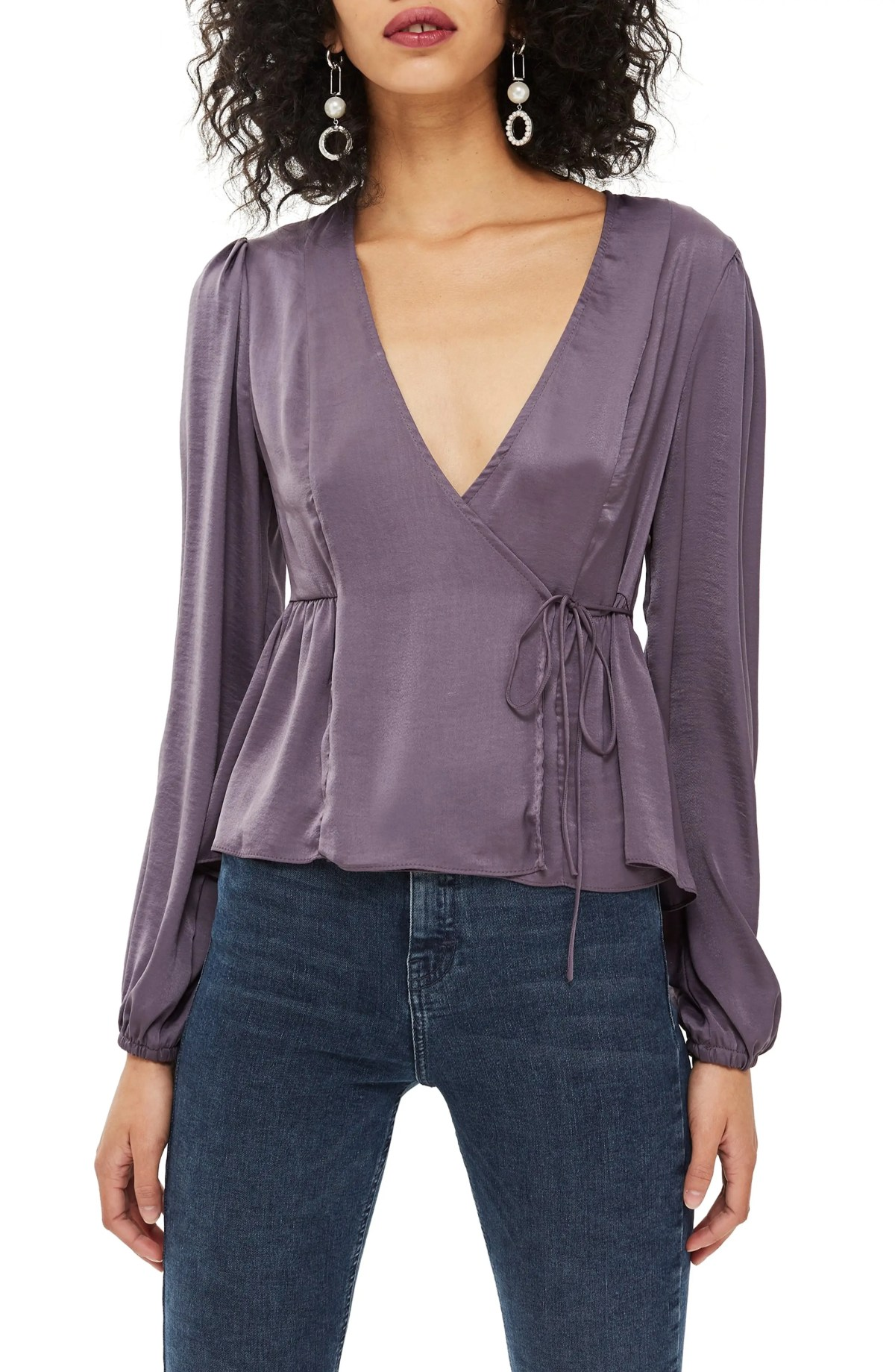 Florence Wrap Blouse, Main, color, GUNMETAL