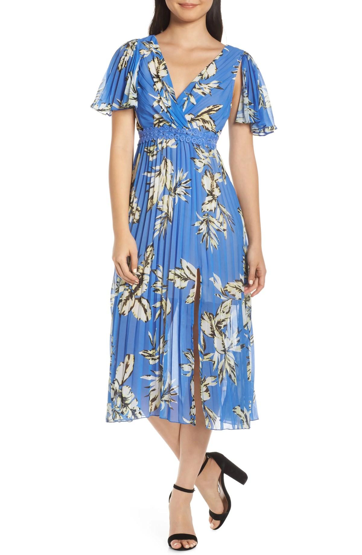 FOXIEDOX Floral Pleated Midi Dress, Main, color, BLUE MULTI